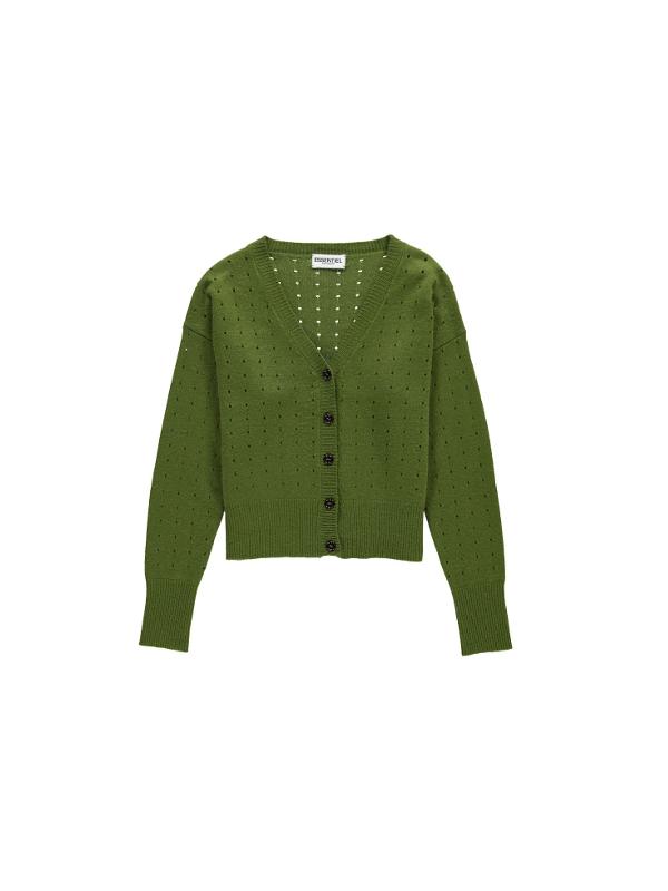 OLAFUR CY14 Cardigan léger à petits trous vert mousse