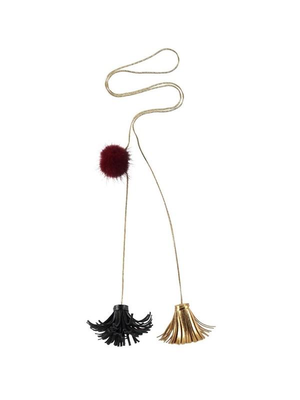 OSLON O1BL Collier avec houppes et pompon (Noir)