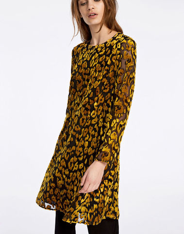 F17302523 10302 robe  imprimée  léopard KAYLA DRESS GOLDEN ROD