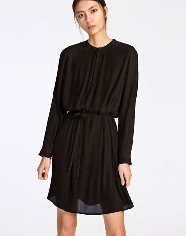 F17302407 00001 Robe mousseline KATE 6621 BLACK