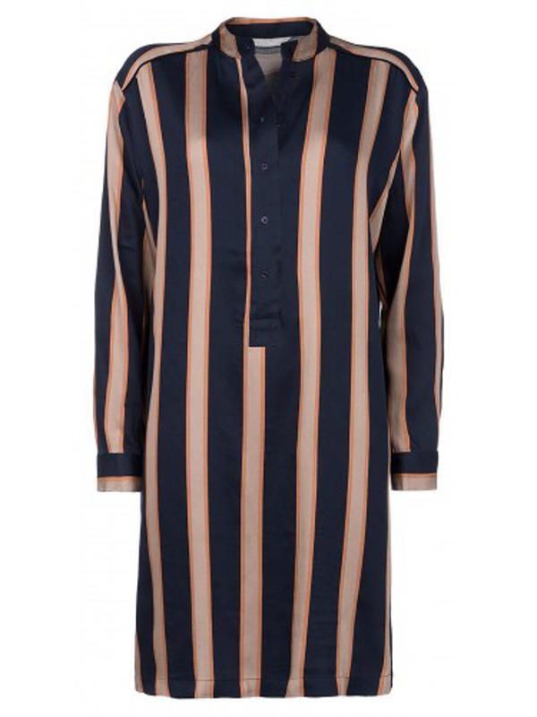 081630 722K - STRIPED SHIRT-DRESS (Ink Blue)