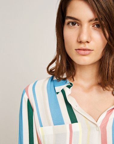F16301086  00107 -  Milly shirt AOP   7201 (COTTAGE STRIPE)