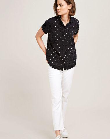 F18223108 00174 - Maj ss shirt aop  9942    (POINT NOIR)
