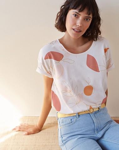 1E190216  02032 - Tee shirt KHALO  (vanille)