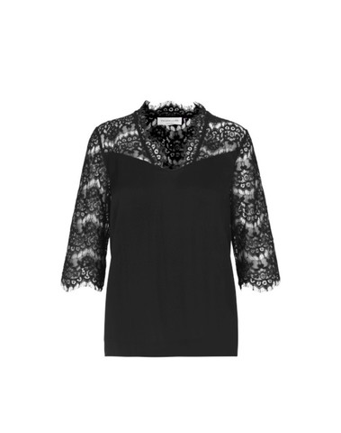 1894-010 - Blouse JADE ss With Lace (Black)