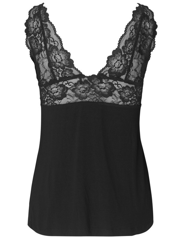 4254-010 - silk top with lace BEKLIN (Black)