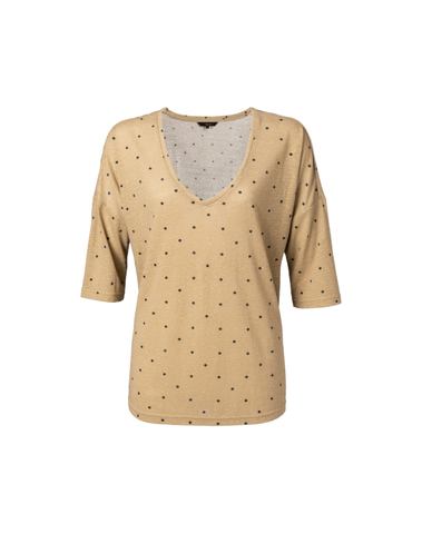 191989-921 713201 - Linen Tshirt with dots print (Sand dessin)