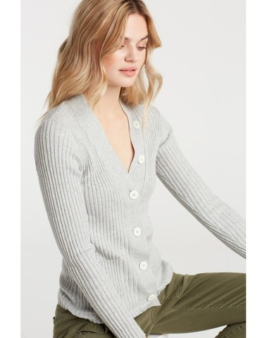 101047-923 99859 -  Cardigan with contrast buttons (Light grey mel.)