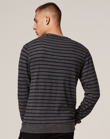 211262 830 - Super soft sweat with stripes  (Md Grey Mel.)
