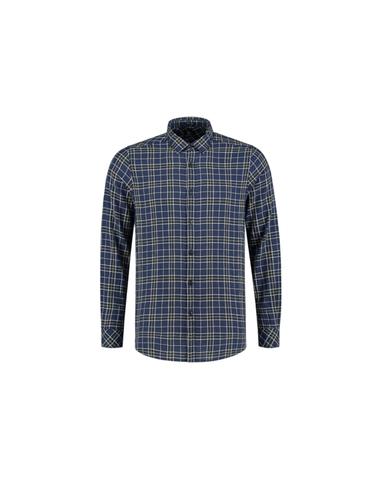 303248 669 - Checked shirt with herringbone structure  (Navy)