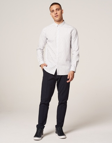 303253 100 - Shirt with button down collar and bicycle print (White)