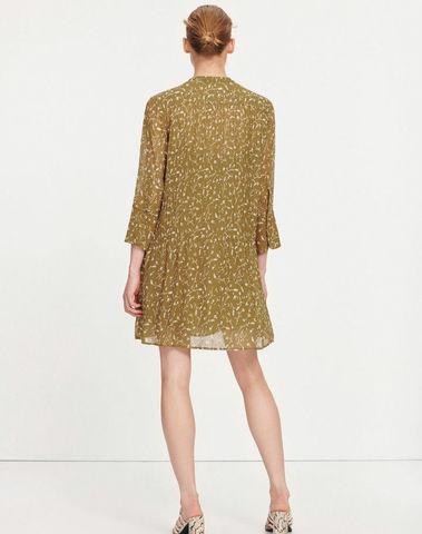 F20200212 00172 - Elm short dress aop (Feuilles khaki)