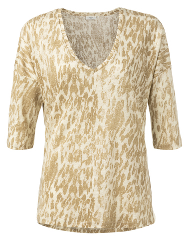 1919128-012 992021 - Linen Tshirt (Dark sand dessin)