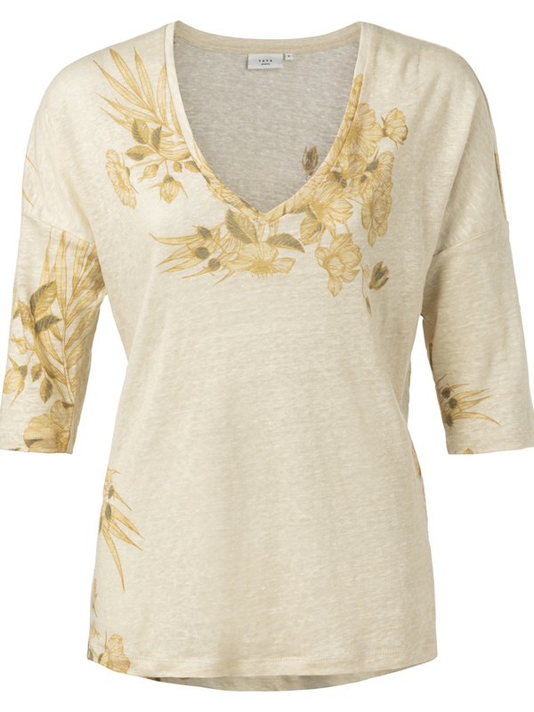 1919113-013 411121 - Linen V-neck T-shirt (Dessert sand dessin)