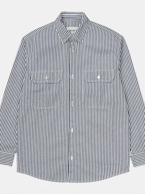 I025050_981_02 - W' L/S Great Master Shirt  (Blue/white rinsed)