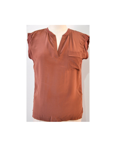 EMIRAU TR31  - Tshirt soie (marron)