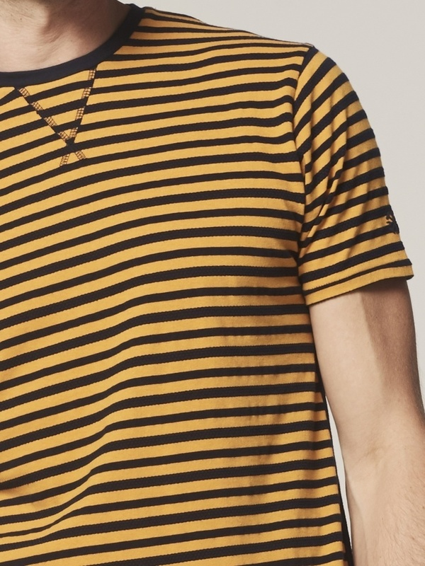 202544 441 - Crew s/s Indigo Stripe (Bright Orange)