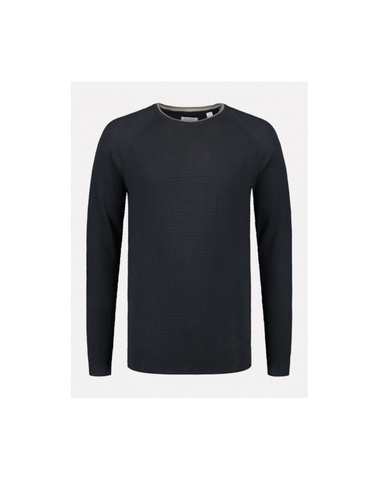 405272 649 - Polo Zip s/s Dropneedle linen Knit (Dk. Navy)