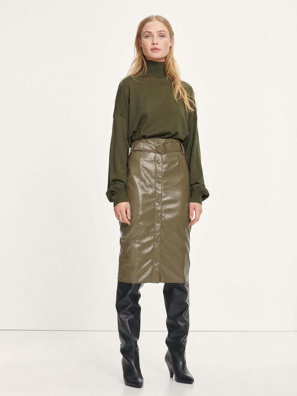 F20400170 10116 - Caroli skirt  ( Dark olive )