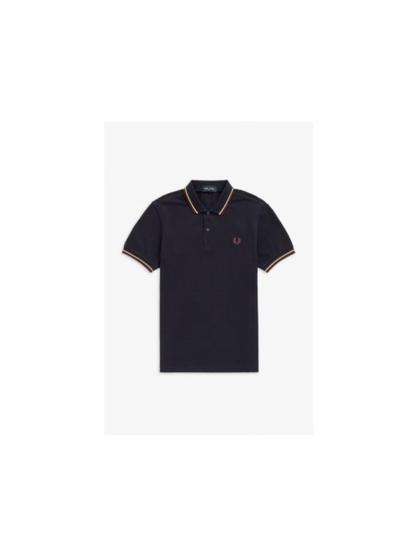 M3600 L39 - Polo (Bleu marine / Champagne / Acajou)