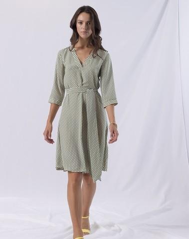 A121SD037 C11 - Green Dots Diana dress (Green)