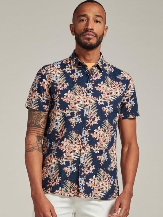 311228 649 - Shirt Painted Flower (Dk. Navy)