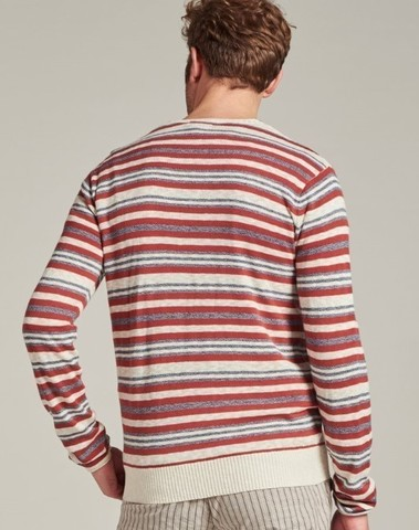 405374 410 - Crew Melange stripe knit (Stone Red)