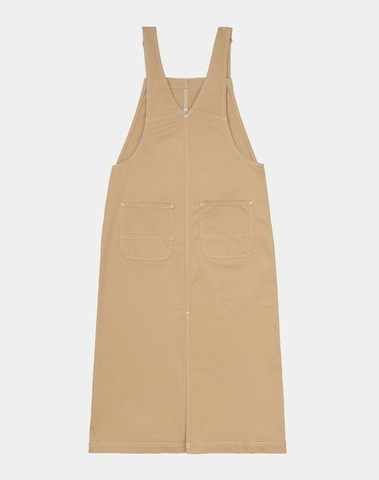 I028647 07E02 - W' Bib Skirt Long (Dusty H Brown rinsed)